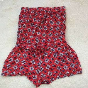Aeropostal Strapless Red floral Romper size small